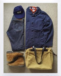 Today's Outfit. Mature Mens Fashion, Boy Fashion, Navy Shawl, American Casual, Ivy League Style, Shirt Tucked In, Outfit Grid, Field Jacket, Levis Lvc
