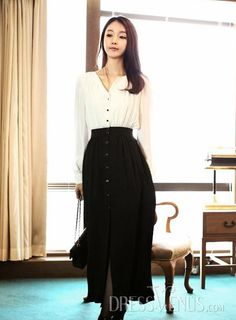 Simply Long Sleeve Empire Waist Slim Dress | Simple Hijab Outfit | Buttons Buttons Buttons | Love how the buttons are the whole length of the outfit - both the blouse and the maxi skirt. | Formal Work Outfit | tags: hijab, hijab fashion, hijab style, #hijab