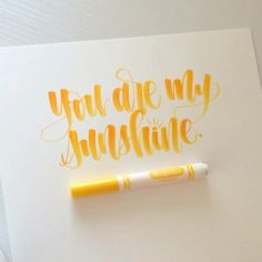 Some blending with a yellow and an orange Crayola. Hope you all had a great day (well as great as a Monday can be! Crayola Calligraphy, Brush Pen Calligraphy, How To Write Calligraphy, Calligraphy Handwriting, Calligraphy Quotes, Calligraphy Letters, Typography Letters, Modern Calligraphy, Penmanship
