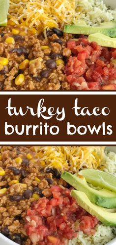 Turkey Taco Burrito Bowls Burrito Bowls Ground Turkey Recipe Mexican Food Tacos Turkey taco burrito bowls are an easy family dinner that s ready in 30 minutes Serve over rice and top with all your favorite taco toppings Quick Ground Turkey Recipes, Ground Turkey Dinners, Healthy Turkey Recipes, Ground Turkey Tacos, Easy Dinner Recipes, Yummy Recipes, Cooking Recipes, Dinner With Ground Turkey, Ground Turkey Meal Prep