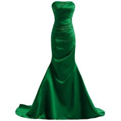 Joanna Women's Mermaid Satin Long Evening Dress (£31) ❤ liked on Polyvore featuring dresses, gowns, long dresses, green gown, satin evening gown, long green evening dress, green satin dress and long ball gowns