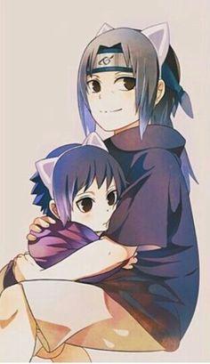 Sasuke, Itachi, Uchiha brothers, young, childhood, cute, neko, cat ears; Naruto