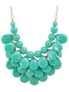 d6f56a689c50 JANE STONE Fashion Bubble Layered Necklace Floating Teardrop Collar  Statement Jewelry for Women(Fn0580-Emerald)