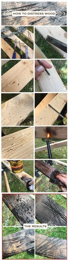 how+to+distress+wood+facci+designs. Diy Wood Projects, Furniture Projects, Wood Furniture, Wood Crafts, Building Furniture, Furniture Design, Weathered Wood, Barn Wood, Distressed Wood