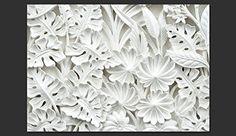 Ideas con fotomural de fondo y hojas blancas
