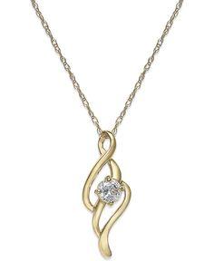 Cubic Zirconia Swirl Pendant Necklace in 10k Gold