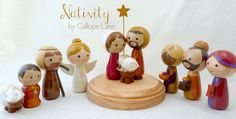 12 Piece Peg Doll Nativity ~ Wooden Kokeshi Dolls ~ MADE TO ORDER