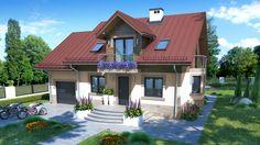 Specjalnie dla Państwa zaprojektowaliśmy ten ekonomiczny dom z użytkowym poddaszem. Modern Bungalow House, Inside Outside, House Elevation, Design Case, Pool Houses, Home Fashion, House Plans, Villa, Home And Garden