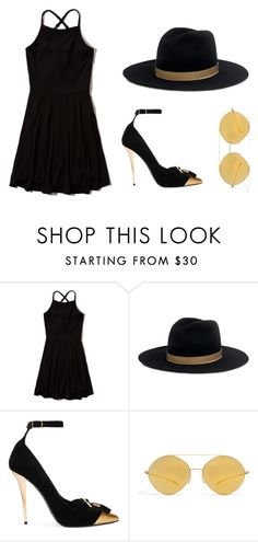"""""""Black and Gold"""" by sjm-2000 ❤ liked on Polyvore featuring Hollister Co., Janessa Leone, Balmain and Mykita"""