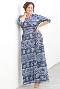 Ready for a trip?  Our plus size Moroccan Maxi Wrap Dress is perfect for your suitcase.  Designed with a great fabric that doesn't wrinkle easy and in a resort-ready print; this will be your go-to vacation style.  Browse our entire made in the USA collection online at www.kiyonna.com.  #KiyonnaPlusYou