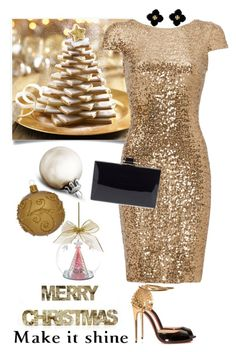"""Merry Christmas!!!"" by lera-chyzh ❤ liked on Polyvore featuring Shea's Wildflower, Badgley Mischka, Christian Louboutin, Natasha Couture, Ball, Lenox, Tory Burch, women's clothing, women and female"