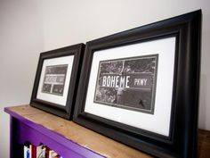 Framed photos of the twins' names on street signs add a custom touch.