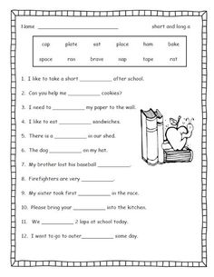 35 Best Long Vowel Worksheets images | Long vowel worksheets ...