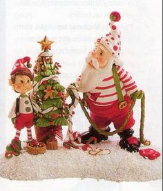 Gumpaste (fondant, polymer clay) Santa Claus and Elf figures sculpting tutorial