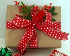 Pretty Christmas Gift Wrap.  This is my style.  Simple, but with special touches.  :)
