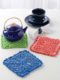Triple-Thick Pot Holder Pattern Download from e-PatternsCentral.com -- Three separate layers stitched in cotton yarn are joined together to create an extra-thick, generous-size pot holder that helps ensure safe handling of hot dishes.