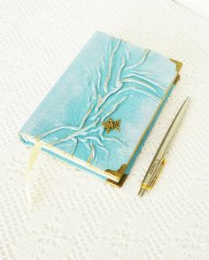 Leather Diary Turquoise Journal Romantic Gift for by AnnaKisArt