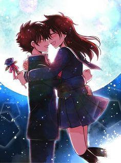 Kuroba x Aoko Ran And Shinichi, Kudo Shinichi, Manga Detective Conan, Romantic Anime Couples, Detektif Conan, Kaito Kuroba, Kaito Kid, Anime Love Couple, Anime Films