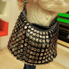 Street Style Casual Women's Shoulder Bag With Tassels and Rivets Design
