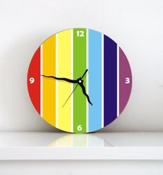 wall clock rainbow multicolored stripes home decor kitchen kids decor childrens room nursery wall art wall decor boy girl gift idea under 50...