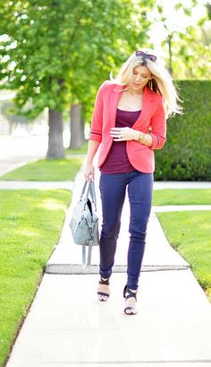 wearing brights-coral blazer and purple pants by ...love Maegan, via Flickr