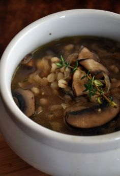 Almost French Onion Soup with Mushrooms and Barley | mountainmamacooks.com