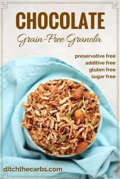 Watch the quick video how to make sugar-free chocolate grain-free granola. Your kids will LOVE this. | ditchthecarbs.com via @ditchthecarbs