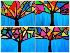 TREE OF COLORS- Could do Mondrian style- Primary colors
