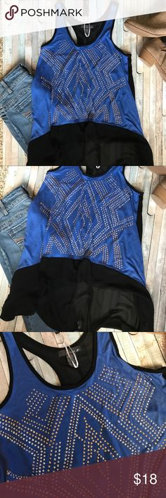 """Lola B Racerback Tank Blue & sheer Black Cute Beaded front racerback tank. Fits loose, would work great over a camisole and leggings. All black material is sheer in front and back. Loose and drapey and the sides are longer. Measures approx 18"""" across and 25"""" long in the front, 31"""" long in the back. Lola B Tops Tank Tops"""