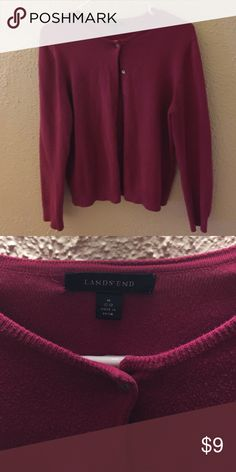 Lands End Cardigan Dark pink in color. Button-up. Perfect for fall or layering in winter months! Fits sizes 10-12. Lands' End Sweaters Cardigans
