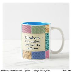 Shop Personalized Grandma's Quilt Custom Two-Tone Coffee Mug created by keyandcompass. Personalize it with photos & text or purchase as is! Vintage Quilts Patterns, Sewing Machine Quilting, Stainless Steel Coffee Mugs, Name Mugs, Pink Quilts, Christmas Coffee, Personalized Coffee Mugs, Funny Coffee Mugs, Custom Mugs