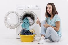 Full shot happy woman showing approval F. Samsung Washing Machine, Liquid Laundry Detergent, Natural Detergent, Machine Service, Laundry Service, Cleaning Service, Dry Cleaning, Happy Women, Microwave Oven