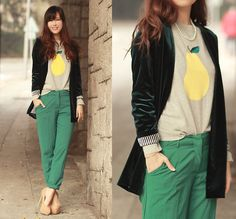 Fancy a pear, dear? (by Mayo Wo) http://lookbook.nu/look/4456537-fancy-a-pear-dear