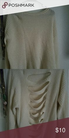 Cream long knit sweater Cute long knit sweater with slashes down the back. Forever 21 Sweaters Crew & Scoop Necks
