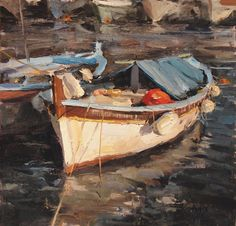 French Fishing Boat by Derek Penix Oil ~ 12 x 12 Boat Painting, Painting & Drawing, Landscape Art, Landscape Paintings, Painting Competition, Boat Art, Oil Painters, Fishing Boats, Beautiful Paintings