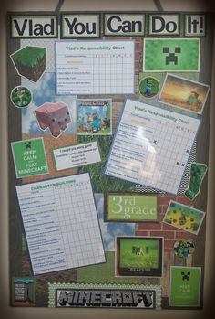Minecraft DIY Child's Responsibility Board - Chore Chart - Behavior Chart
