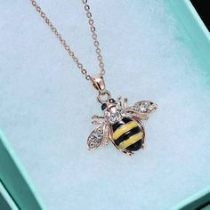 Fashion Jewelry Women Rose Gold Crystal Popular Bee Honey New Delicate Necklace Fashion Jewelry Necklaces, Charm Jewelry, Fashion Necklace, Pendant Jewelry, Pendant Necklace, Jewellery, Jewelry Watches, Bee Necklace, Crystal Necklace
