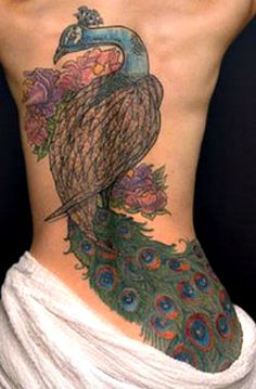 peacock back tattoo