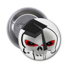 Graduation Skull Pinback Button