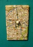 Map Light Switch Cover!     (Also included on this site are instructions for several other fun map-ish projects.)    Enjoy!