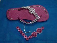 DIY: entrelaçado de tira de pérolas para chinelos - perlas de tira zapatillas - YouTube