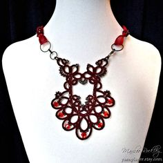 Tatted lace necklace garnet red with Swarovski crystals and ribbon, original tatting design by Marilee Rockley