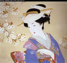 伊藤小坡 -《人面如花》                      by Ito Shoha  (1877-1968, Japanese painter)
