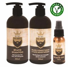 By My Beard - Beard & Moustache Care Essentials Set- Shampoo, Conditioner & Oil Beard Grooming Kits, Shaving & Grooming, Male Grooming, Beard Shampoo And Conditioner, Moisturizing Hair Mask, Afro, Violet Shampoo, Beard Care, Handmade Soaps