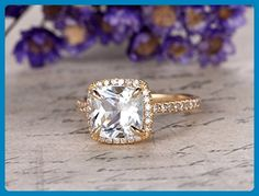 Solid 14K Yellow Gold Band,Wedding Promise Ring,Cushion Cut Topaz Engagement Ring,Halo Anniversary Ring,VS Sky White Topaz,Claw Prongs - Wedding favors (*Amazon Partner-Link)