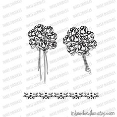 Wedding Flowers Bridal Pattern Digital Stamps Black And White Clip Art by InkeeDoodles, part of a 16 piece clipart set, $6.00, #Wedding #Flowers #Bridal #Pattern #DigitalStamps #BlackandWhite #Clip #Art