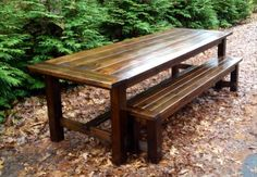 9-Foot Farmhouse Table and Bench | Do It Yourself Home Projects from Ana White http://ana-white.com/2013/12/9-foot-farmhouse-table-and-bench