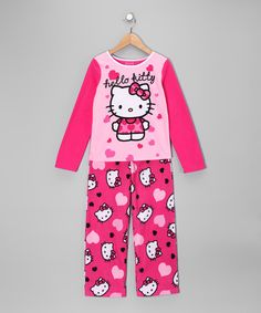 Take a look at this Pink 'Hello Kitty' Pajama Set - Girls by Angry Birds & Hello Kitty on #zulily today!