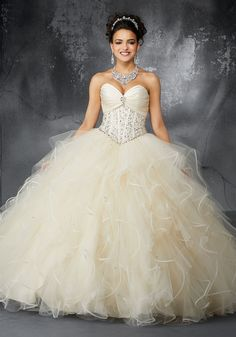 048c17309f617 Valencia Quinceanera by Morilee 60053 Crystal Beaded Corset Bodice with  Draped Satin Detail on a Ruffled Tulle Ball Gown. Matching Bolero Jacket  Elegantly ...