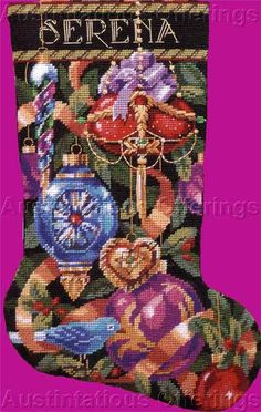 Rare Rossi Elegant Ornaments Needlepoint Christmas Stocking Kit Vintage Rare Needlework Kits - Contemporary Stitchery Crafts